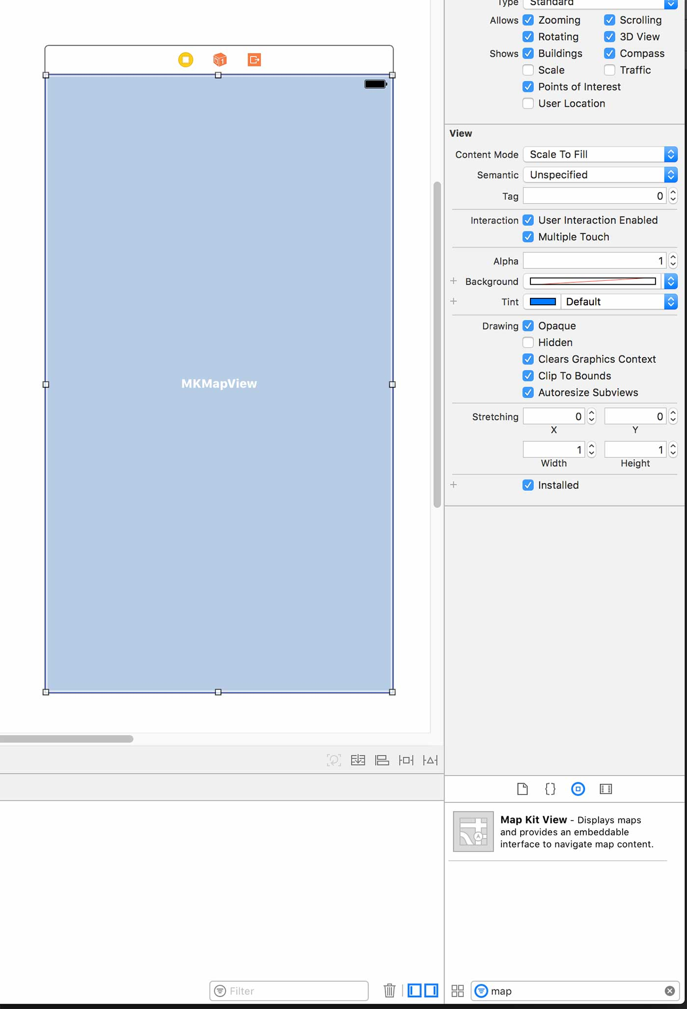Adding a map view in the storyboard